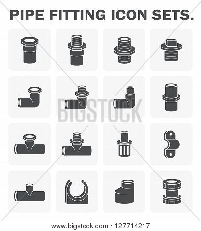Pipe fitting vector icon sets design on white.