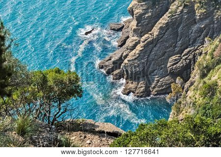 Cliffs in the promontory of Portofino seen from above