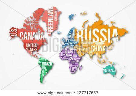 Vector detailed world map with borders and country names. Education, business and travel infographic concept.
