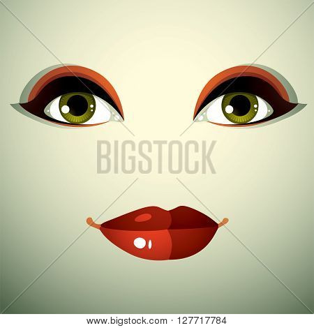 Emotional Expression On The Face Of A Cute Girl. Beautiful Sad And Dreamy Woman With A Modern Makeup