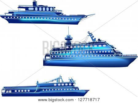 illustration with three blue ships isolated on white background