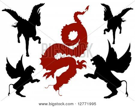 Mystical Creatures Silhouette - Vector