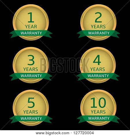 Warranty label set. Golden guarantee badges with green ribbons