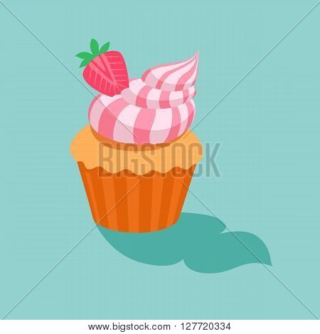 Cake with strawberry cream.Sweet dessert chocolate sugar cookies decorative set with cream and strawberry decoration isolated vector illustration icon.dessert icon set.vector illustration