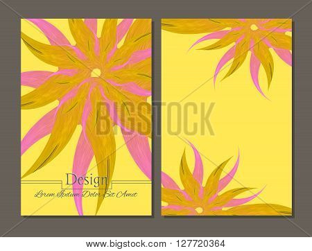 Set of vector design templates.Corporate Identity kit or business kit with artistic abstract colorful design for your business. Vector abstract booklet cover. Beauty brochure. Yellow and pink colors