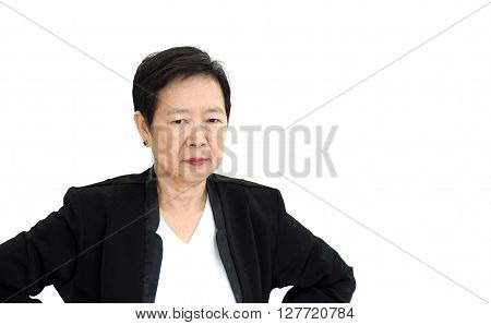 Asian senior business woman upset and unhappy abstract loss in profit