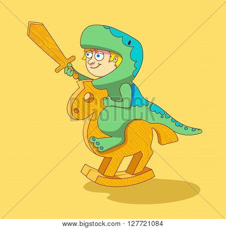 Boy dressed as a dinosaur riding a wooden horse.Little Boy riding a wooden horse.play with toys.