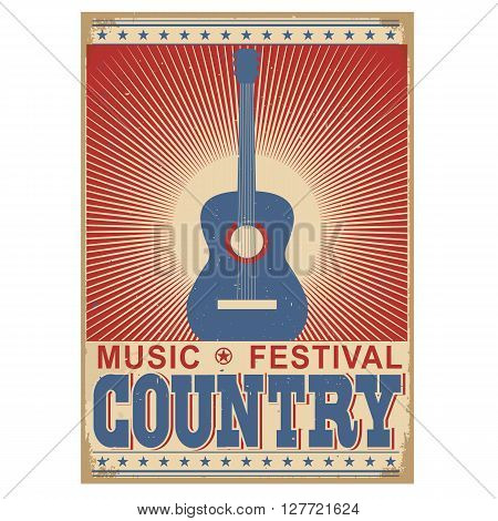 Music Festival Background With Guitar.vector Isolated On White