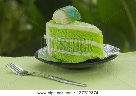 Pandan cake (flavoured of Pandanus amaryllifolius leaves) on garden background