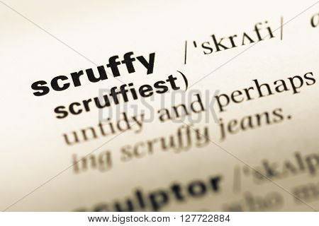 Close Up Of Old English Dictionary Page With Word Scruffy.