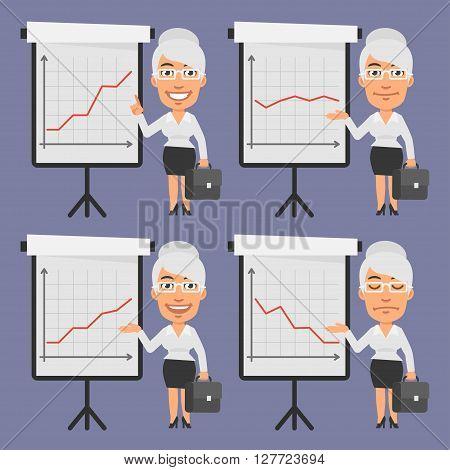 Vector Illustration, Old Businesswoman Points on Flip Chart, format EPS 8