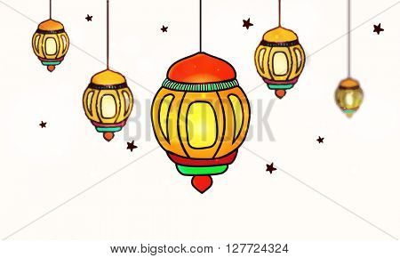 Glossy colourful Lamps decorated background for Islamic Holy Month, Ramadan Kareem celebration.