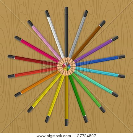 Colored pencils that form a rainbow colored color fan circle. Vector illustration on the table.
