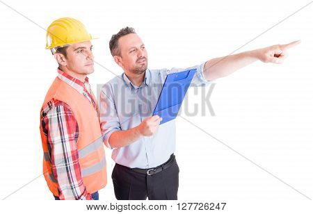 Visionary constrution site inspector and builder or contractor on white background