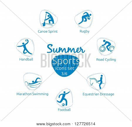 Summer sports icons set 3 of 6 vector illustration template for web print and other projects