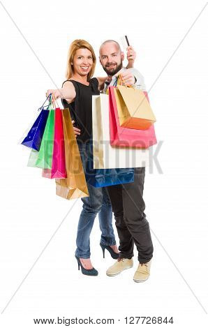 Shopping Couple And Credit Or Debit Card