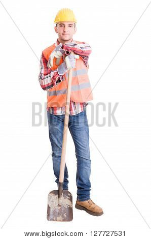 Happy Construction Worker Resting On The Shovel