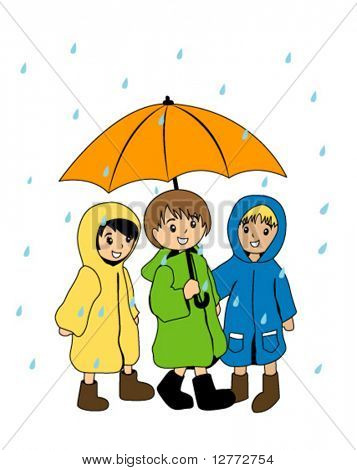 Kids in the Rain - Vector