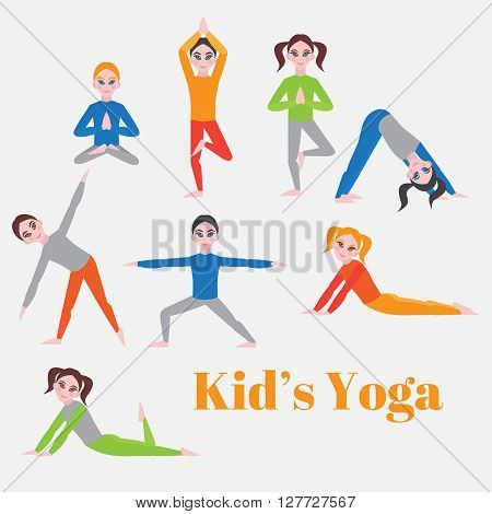 Yoga kids set. Gymnastics for children and healthy lifestyle. Yoga exercises. Yoga class, yoga center, yoga studio. Flat yoga asana