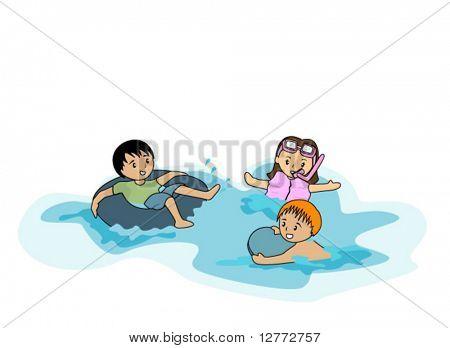 Kids Swimming - Vector