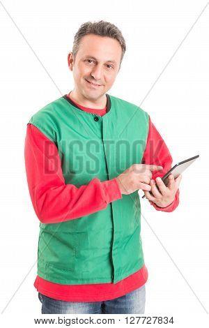 Hypermarket Employee Using Wireless Tablet