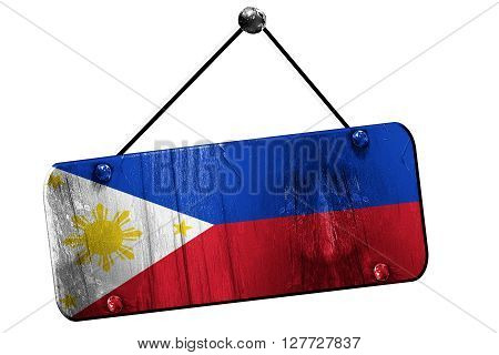 Philippines flag, 3D rendering, grunge old sign on a rope