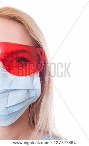 Half Face Of Dentist Woman Doctor On White Copy Space