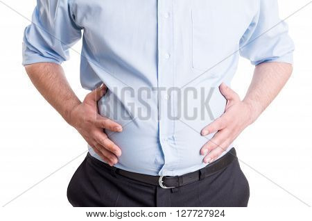 Hands grabbing bloated abdomen. Digestion problem or indigestion medical concept.