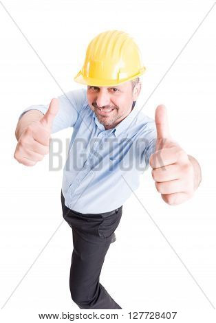 Smiling Architect Showing Thumbs Up