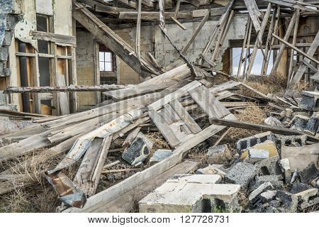 collapsed old house in a ghost town in the southwest USA
