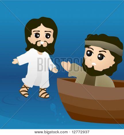 Jesus walks on Water - Vector