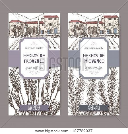 Two Herbes de Provence labels with Provence mansion landscape, lavender and rosemary sketch on white. Culinary herbs collection. Great for cooking, medical, gardening design.