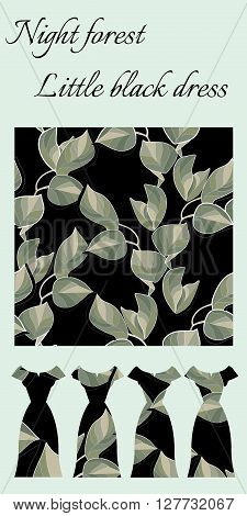 Beautiful card with female dresses and seamless pattern of leaves. Collection Night forest - little black dresses with leaves. Fashion design. Vector illustration.