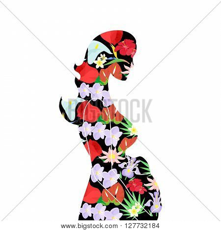 illustration on the theme of pregnancy and motherhood decorated with beautiful flowers.
