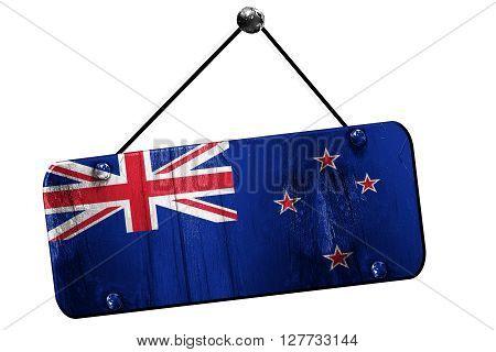 New zeeland flag, 3D rendering, grunge old sign on a rope