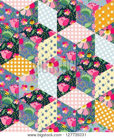 Seamless pattern of cute quilt. Patchwork from different colorful patches.
