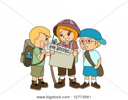 Children hunting treasure - Vector
