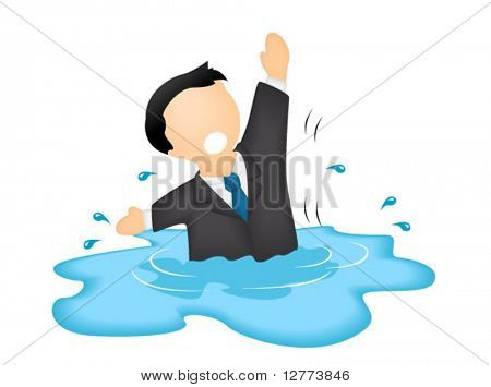 Businessman Sinking - Vector Icon