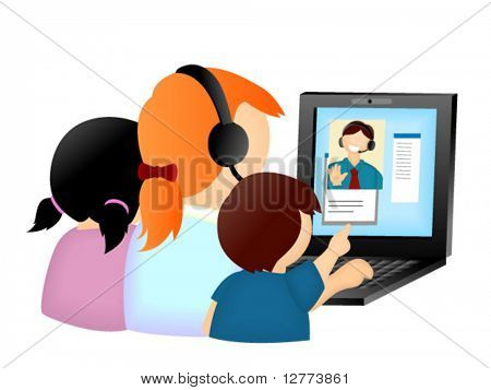 Family Talking To Dad using the Internet - Vector Icon