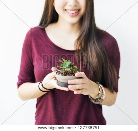 Woman Plant Green Hobby Gardening Concept