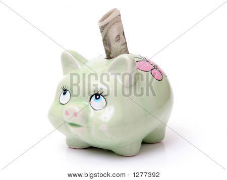 Piggybank With 100 Dollar Banknote