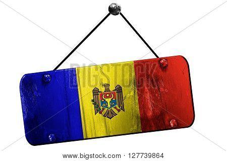 Moldova flag, 3D rendering, grunge old sign on a rope