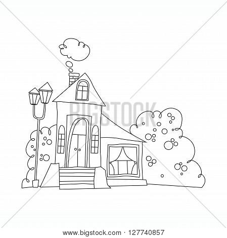 black and white illustration of the mansion. house in cartoon style vector Coloring book