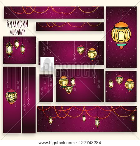 Social Media Post and Header set with hanging traditional Lamps for Islamic Holy Month, Ramadan Kareem celebration.