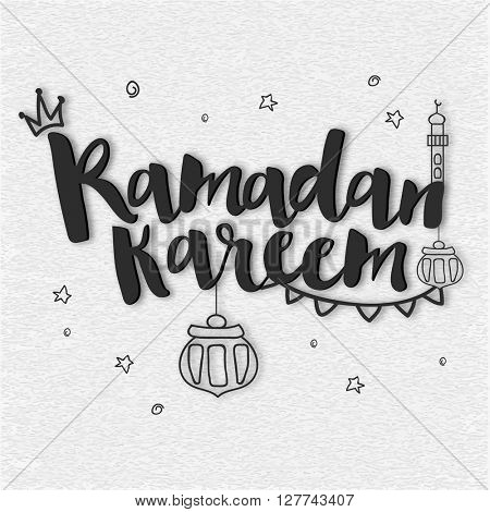 Greeting Card design with stylish text Ramadan Kareem and Islamic elements on grungy grey background.