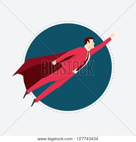 Businessman in red suit. Super hero. Flat style vector illustration.