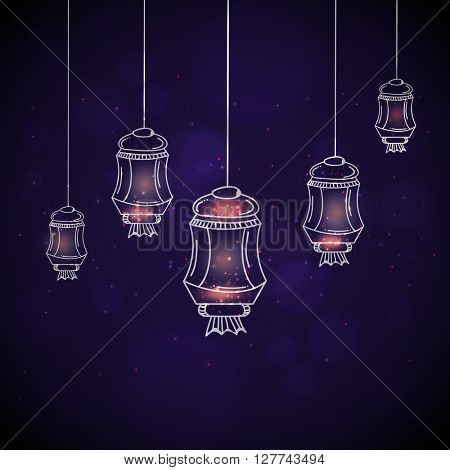 Beautiful glowing Lamps hanging on shiny background for Islamic Festival celebration.