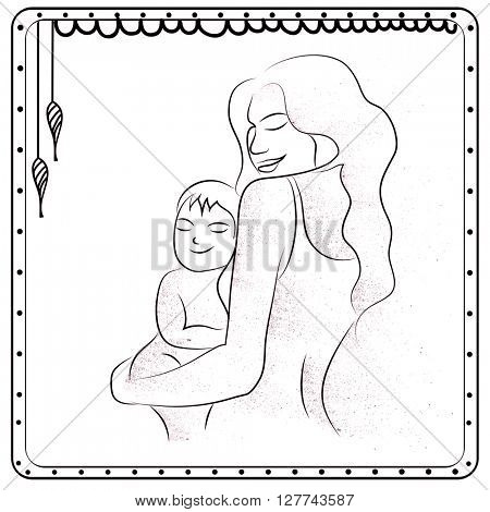 Elegant Greeting Card with Young Mother holding her cute Baby on lap for Happy Mother's Day celebration.