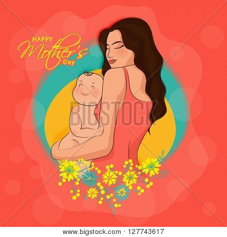 Elegant Greeting Card with illustration of a Young Mother holding her adorable Baby on flowers decorated background for Happy Mother's Day celebration.