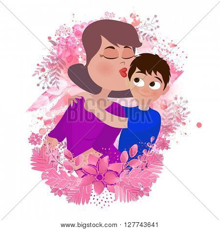 Illustration of Young Mother kissing to her loving Son on creative flowers decorated background, Elegant Greeting Card for Mother's Day celebration.